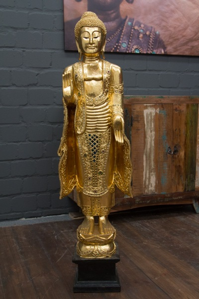 buddha statue stehend gold gro 115cm holz figur skulptur blattgold thailand neu ebay. Black Bedroom Furniture Sets. Home Design Ideas