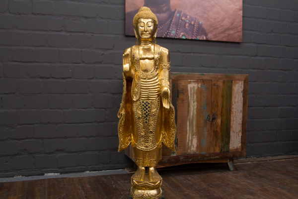 Buddha statue stehend gold gro 115cm holz figur skulptur for Buddha statue holz