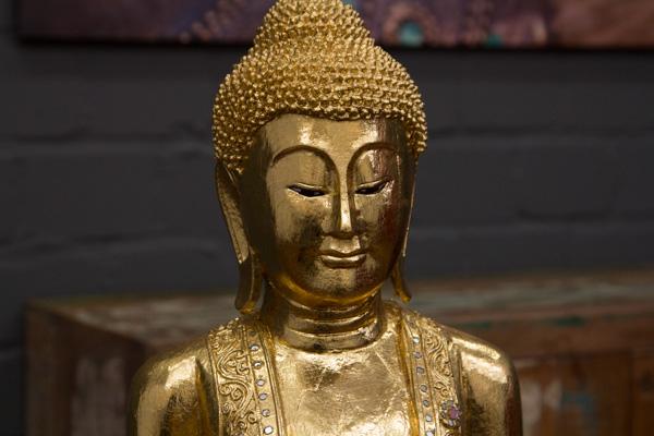 buddha statue stehend gold gro 115cm holz figur skulptur. Black Bedroom Furniture Sets. Home Design Ideas