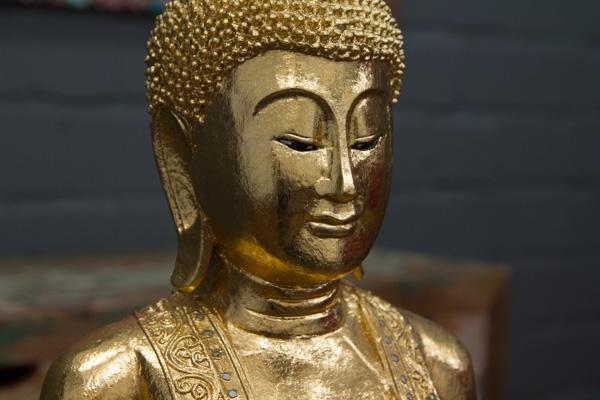 buddha statue stehend gold gro 115cm holz figur skulptur blattgold thailand neu ebay. Black Bedroom Furniture Sets. Home Design Ideas