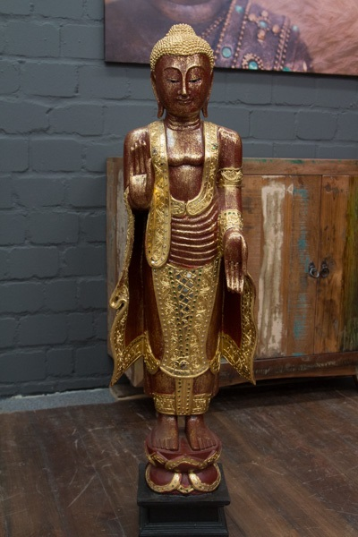 buddha statue stehend gro 115cm holz rot gold figur. Black Bedroom Furniture Sets. Home Design Ideas