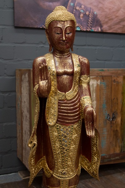 buddha statue stehend gro 115cm holz rot gold figur skulptur blattgold thailand ebay. Black Bedroom Furniture Sets. Home Design Ideas