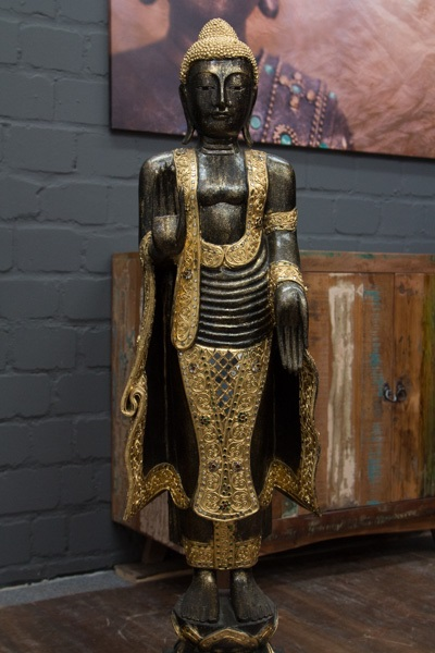 buddha statue stehend gro 115cm holz schwarz blattgold figur skulptur thailand ebay. Black Bedroom Furniture Sets. Home Design Ideas