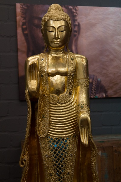 buddha statue stehend gro 170cm holz gold figur skulptur blattgold thailand neu ebay. Black Bedroom Furniture Sets. Home Design Ideas
