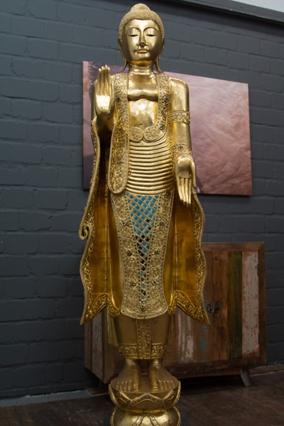 buddha statue stehend gro 170cm holz gold figur skulptur blattgold thailand neu ebay. Black Bedroom Furniture Sets. Home Design Ideas