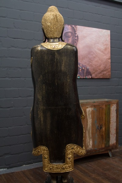 buddha statue stehend gro 170cm massivholz schwarz gold figur skulptur thailand ebay. Black Bedroom Furniture Sets. Home Design Ideas