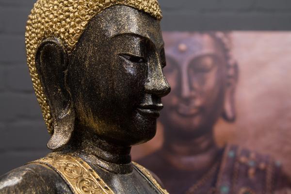 buddha statue stehend gro 170cm massivholz schwarz gold figur skulptur thailand ebay. Black Bedroom Furniture Sets. Home Design Ideas