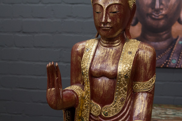 buddha statue stehend gro 170cm massivholz rot gold figur skulptur thailand neu ebay. Black Bedroom Furniture Sets. Home Design Ideas