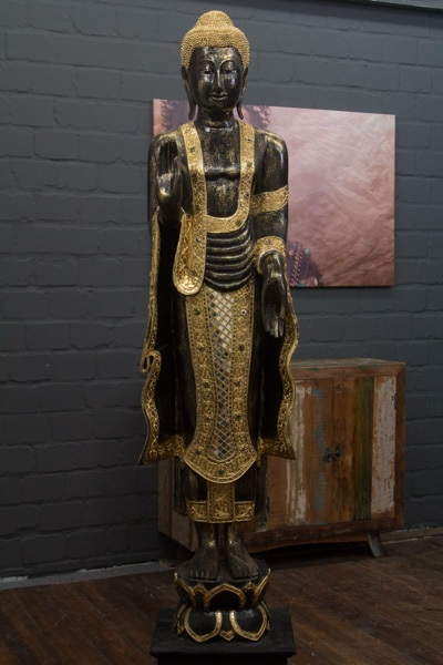 buddha statue stehend gro 200cm holz schwarz gold figur skulptur thailand neu ebay. Black Bedroom Furniture Sets. Home Design Ideas