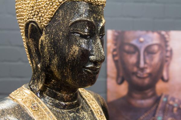 buddha statue stehend gro 115cm holz schwarz blattgold. Black Bedroom Furniture Sets. Home Design Ideas