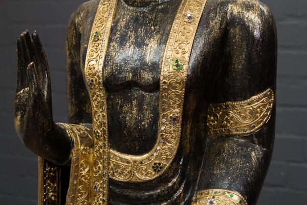 buddha statue stehend gro 200cm holz schwarz gold figur skulptur thailand neu ebay. Black Bedroom Furniture Sets. Home Design Ideas