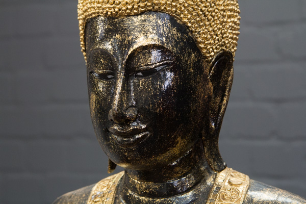 Buddha statue stehend gro 200cm holz schwarz gold figur for Buddha statue holz