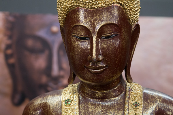 buddha statue stehend gro 200cm holz rot gold figur. Black Bedroom Furniture Sets. Home Design Ideas