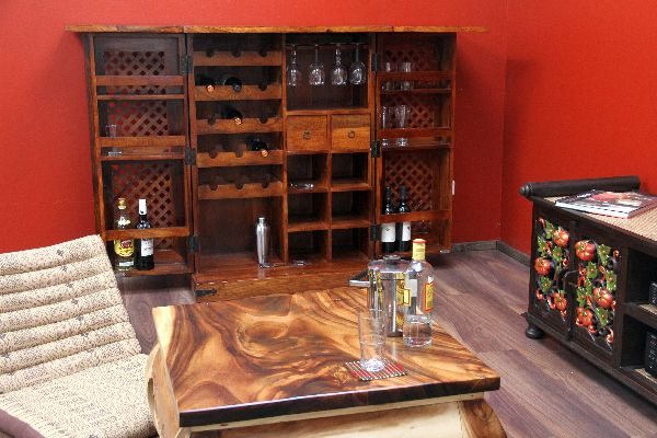 bar barschrank holz massiv weinbar kolonialstil. Black Bedroom Furniture Sets. Home Design Ideas