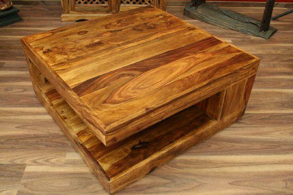 Couchtisch Stauraum 90x90x40 Sheesham Holz Massiv Wohnzimmertisch
