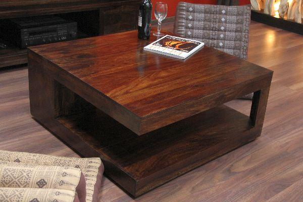 Couchtisch Quadratisch Walnuss Holz Massiv Sheesham 90x90x40