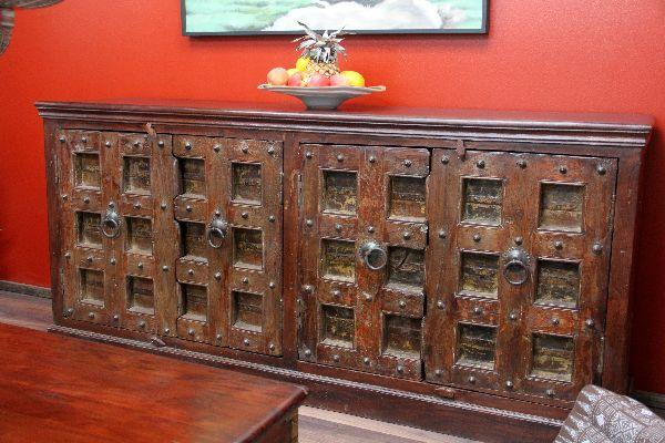 Schrank, Sideboard, Kolonial, Antik, Alt, Indien, Massivholz, 200x90x45
