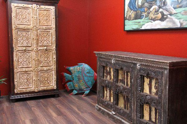 Schrank, Kolonial, Buffet, Anrichte, Sideboard, Indien, Antik, Holz