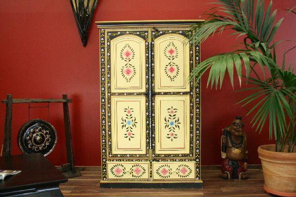kleiderschrank b cherschrank holz handbemalt gelb. Black Bedroom Furniture Sets. Home Design Ideas