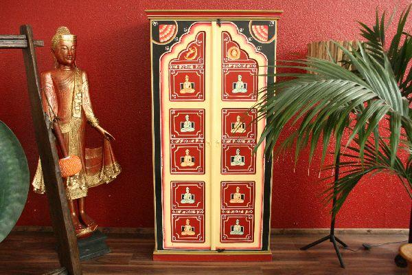 Kleiderschrank b cherschrank holz schrank handbemalt for Indische mobel kleiderschrank