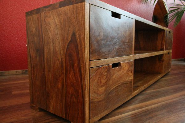 sideboard tv hifi schrank holz massiv sheesham 160x50x40. Black Bedroom Furniture Sets. Home Design Ideas