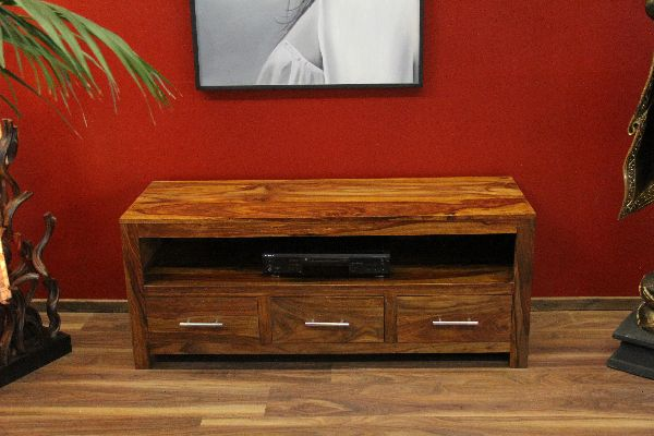 sideboard tv hifi schrank holz massiv sheesham 135x55x45. Black Bedroom Furniture Sets. Home Design Ideas