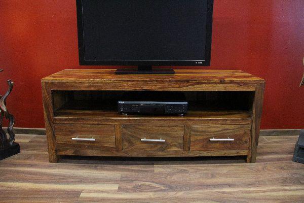 sideboard tv hifi schrank holz massiv sheesham 135x55x45. Black Bedroom Furniture Sets. Home Design Ideas
