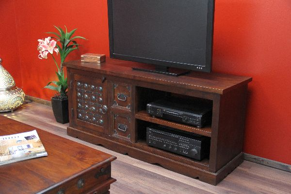 tv sideboard kolonialstil kolonial tv hifi schrank lowboard rack orient indien ebay. Black Bedroom Furniture Sets. Home Design Ideas