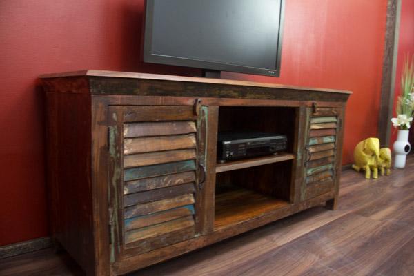 tv sideboard massivholz schrank lowboard vintage bunt 155x72x51. Black Bedroom Furniture Sets. Home Design Ideas