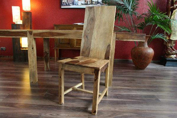 Stuhl holzstuhl lehnstuhl holz massiv sheesham natur for Stuhle esstisch holz