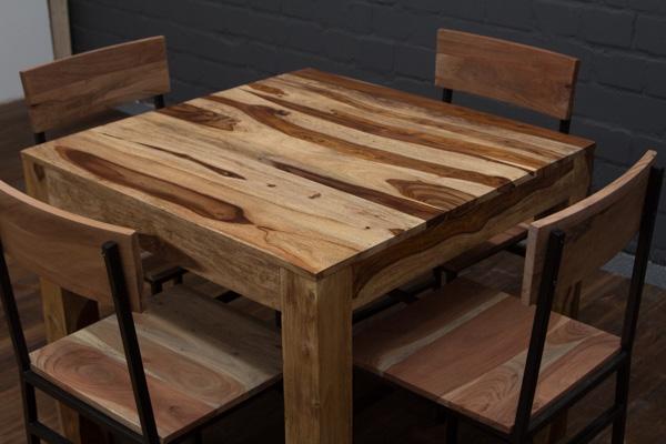 Esstisch quadratisch massivholz 90x90x77 braun creme for Esstisch creme
