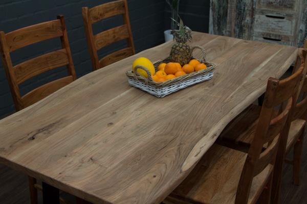 Esstisch massivholz baumstamm planken 200x91x76 for Esstisch yellow