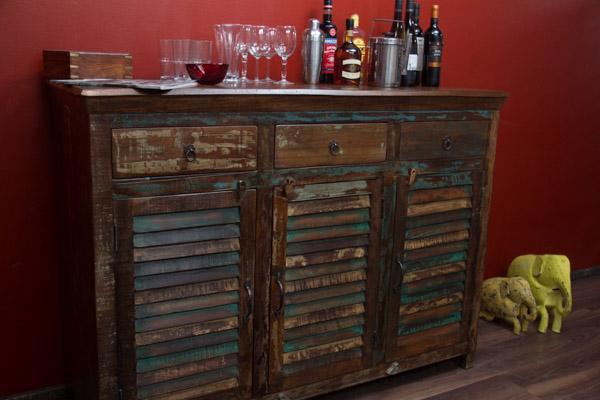 highboard massivholz vintage sideboard 150x107x50 schrank palisander lamellen ebay. Black Bedroom Furniture Sets. Home Design Ideas