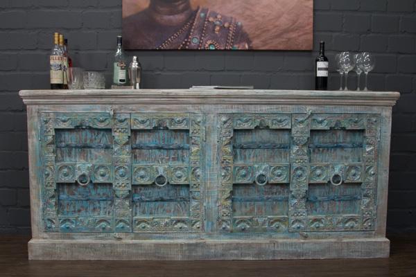 kolonialschrank indien massivholz sideboard 207x95x45. Black Bedroom Furniture Sets. Home Design Ideas