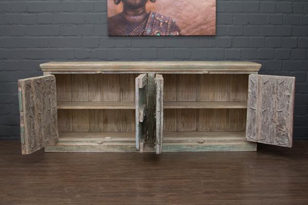 sideboard kolonialstil schrank indien massivholz 224x92x45 anrichte buffet blau ebay. Black Bedroom Furniture Sets. Home Design Ideas
