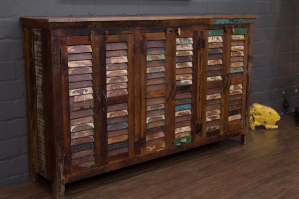 Highboard massivholz vintage sideboard 182x108x42 schrank anrichte buffet braun ebay for Schlafzimmerschrank vintage