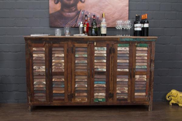 Highboard massivholz vintage sideboard 182x108x42 schrank anrichte buffet braun 2000000172286 ebay for Schlafzimmerschrank vintage