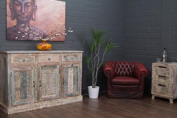 kommode massivholz wei 153x100x51 landhaus vintage. Black Bedroom Furniture Sets. Home Design Ideas
