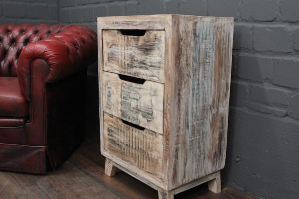 Weisse Kommode Aus Gekalktem Massivholz Im Vintage Stil Nr 16570