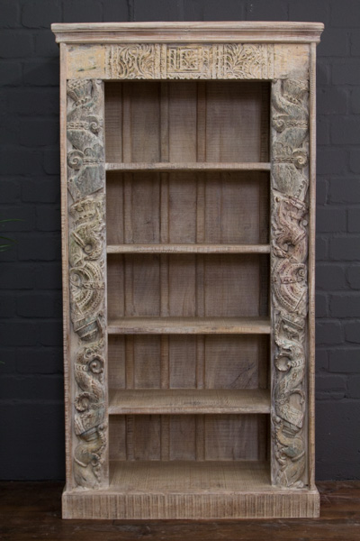 Indisches Bücherregal aus Massivholz im Vintage Antikstil. Nr.16614