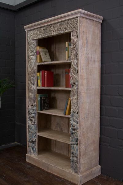 Bücherregal Massivholz Indien Schnitzereien 200x106x43 Gekälkt ...