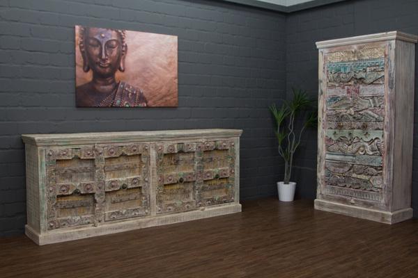 kleiderschrank massivholz schnitzereien indien 197x105x45 schrank gek lkt wei ebay. Black Bedroom Furniture Sets. Home Design Ideas