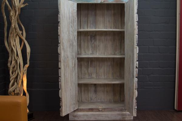 kleiderschrank wei massivholz indien schnitzereien schrank b cherschrank farbig ebay. Black Bedroom Furniture Sets. Home Design Ideas