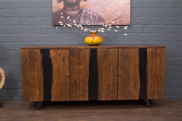 sideboard massivholz suar baumstamm naturkante 200x90x47 anrichte buffet braun ebay. Black Bedroom Furniture Sets. Home Design Ideas