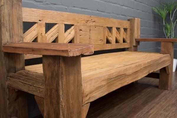 sitzbank massivholz antikstil teak bootsholz treibholz 203cm holzbank thailand ebay. Black Bedroom Furniture Sets. Home Design Ideas