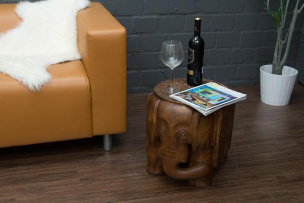elefant massivholz beistelltisch schnitzereien blumenhocker gro thailand neu ebay. Black Bedroom Furniture Sets. Home Design Ideas
