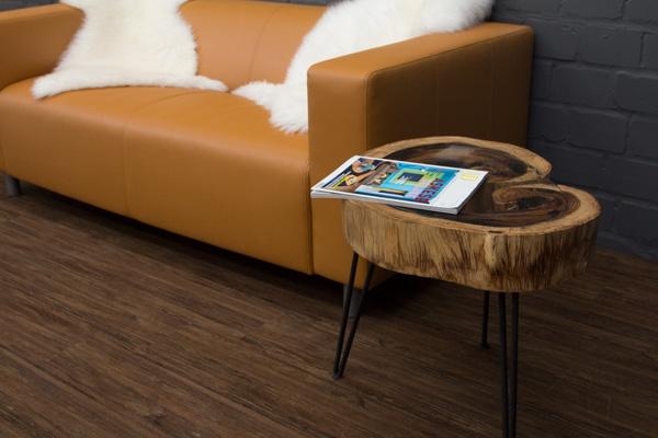 beistelltisch massivholz baumscheibe baumstamm suar 50x51 glasplatte metallbeine ebay. Black Bedroom Furniture Sets. Home Design Ideas
