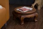 Großer runder Beistelltisch aus Massivholz im Opiumtisch Stil. Nr.19076