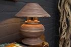 Ausgefallene Tischlampe in Braun aus Bambus Holz handgearbeitet. Nr.17371