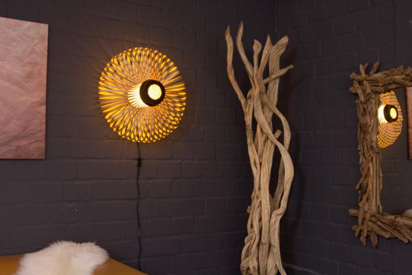 Ausgefallene Wandlampe In Beige Aus Bambus Holz Handgearbeitet Nr 17367